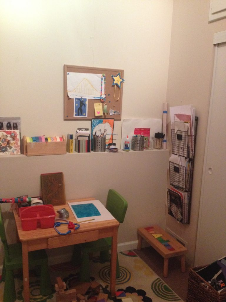 L's art area after I reworked it last year. Almost Pinterest-worthy, no? This lasted about a week.